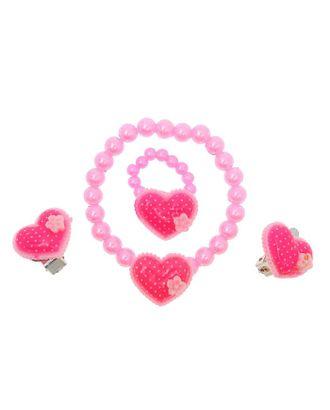 """Набор детский """"Выбражулька"""" 3 предмета: клипсы, браслет, кольцо, сердечко, цвет МИКС арт. СМЛ-21911-1-СМЛ0842870"""