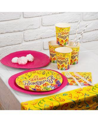 Набор бумажной посуды «День рождения!», 6 стаканов, 6 тарелок, 6 салфеток, скатерть арт. СМЛ-103161-1-СМЛ0000856617