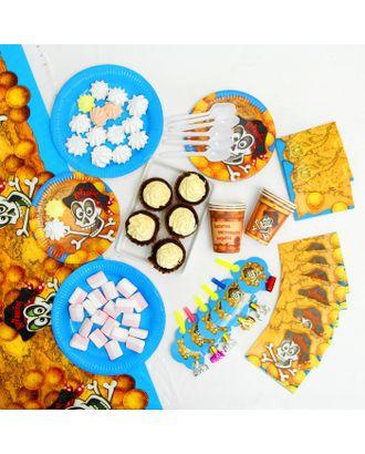 Набор бумажной посуды «Пират», 6 стаканов, 6 тарелок, 6 салфеток, 6 дудок, 6 ложек, скатерть арт. СМЛ-103326-1-СМЛ0000856621