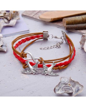 """Браслет ассорти """"Голубушки"""" 3 нити, цвет красно-коричневый в серебре арт. СМЛ-20625-1-СМЛ0871867"""