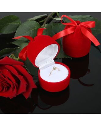 """Футляр под кольцо """"Подарочек"""", 5*5*6, цвет красный, вставка белая арт. СМЛ-25391-1-СМЛ0097917"""