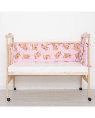 """Бортик цельный """"Спящий мишка"""", 4 части (2 части: 33х60 см, 2 части: 33х120 см), цвет розовый (арт. 512) арт. СМЛ-25410-1-СМЛ0988095"""